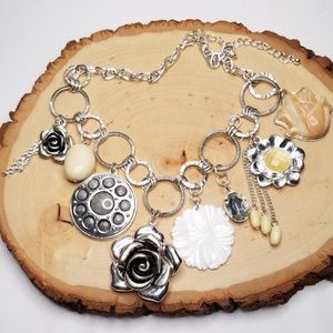 Statement Silver Shell Rose Flower Charm Necklace